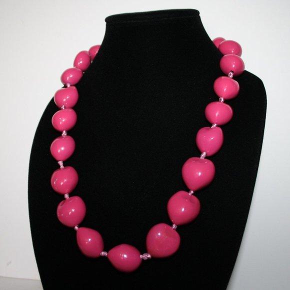Pink Hawaii Kukui Nut Lei Necklace